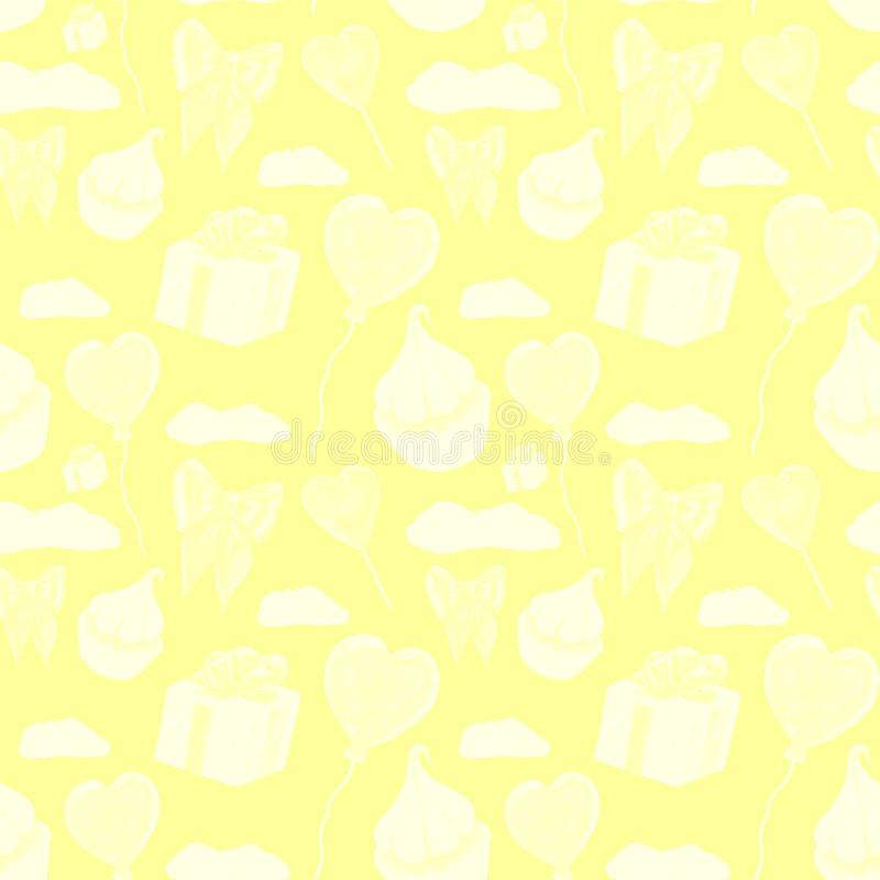 Сладкая желтая картина элементов любов Любовь и дизайн шаблона помадок Пирожное whit картины акварели, красное lolipop сердца иллюстрация вектора