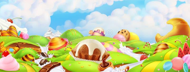 Сладкая земля конфеты Ландшафт панорамы, вектор иллюстрация штока