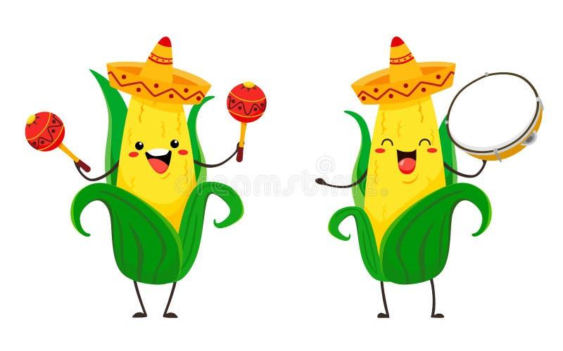 Сладкая и смешная мозоль kawai в sombrero с maracas и тамбурин : бесплатная иллюстрация