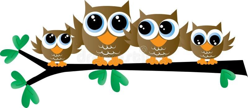 Сладкая коричневая семья сыча сидя на ветви иллюстрация штока