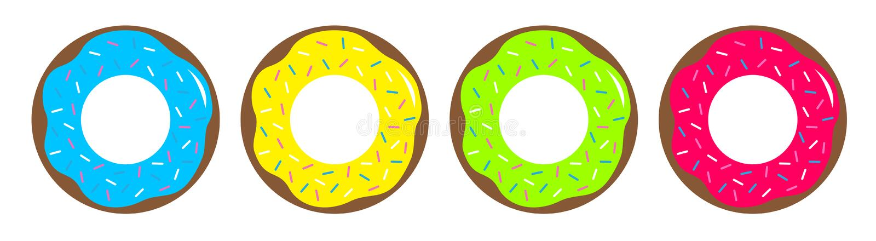 Значок поливы шоколада донута Сладкая линия набора печенья пекарни Милое собрание мультфильма Закуска фаст-фуда o o иллюстрация вектора