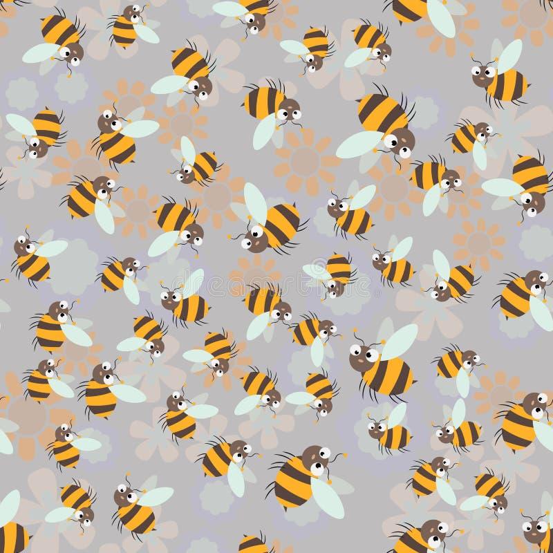 Сладкая печать меда Милая картина пчелы и сота мультфильма безшовная бесплатная иллюстрация