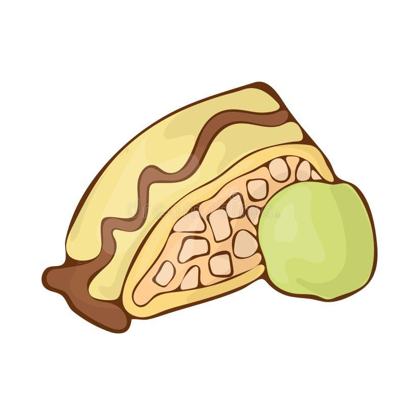 Сладкая штрудель яблока с иллюстрацией handdrawnn мультфильма значка вектора десерта мороженого фисташки бесплатная иллюстрация