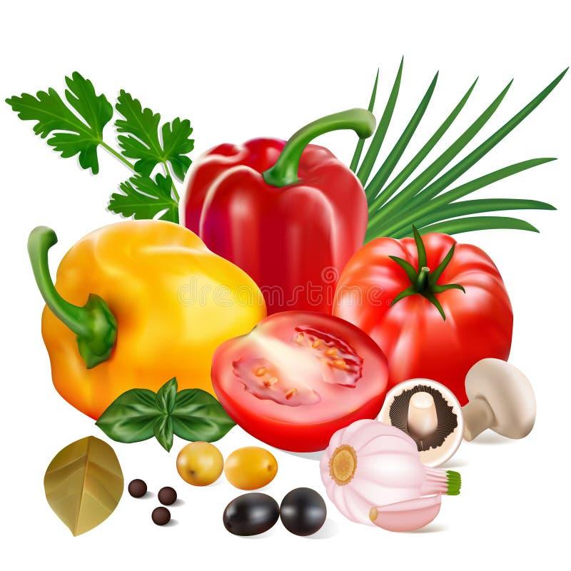 сладкие перцы с томатами, чесноком, оливками, грибами и луками бесплатная иллюстрация