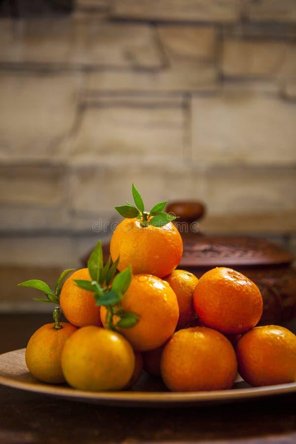 Сладкий апельсин, китайский фестиваль весны, спасибо дань, везение хиа Fu большое, стоковые фото