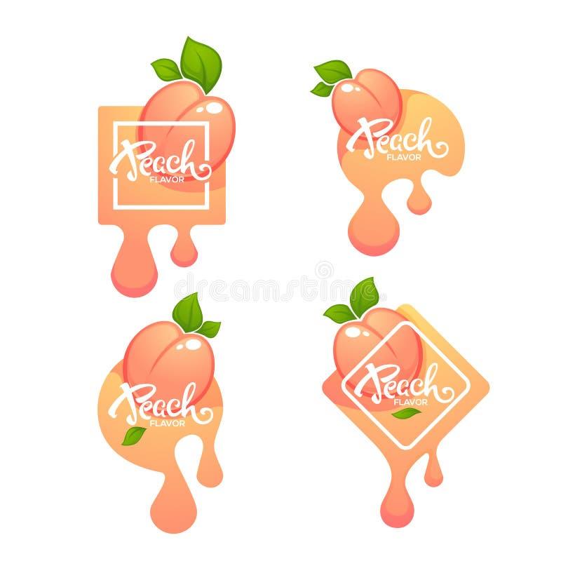 Сладкий вкус персика Ярлык или стикер вектора иллюстрация вектора