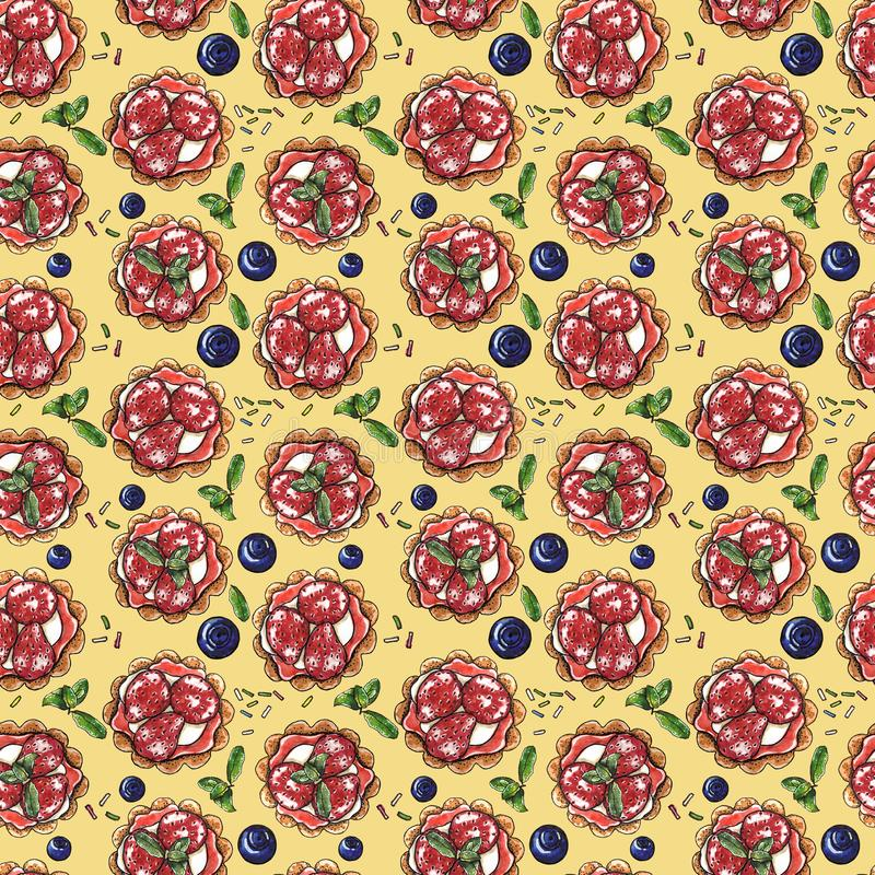 Сладкий десерт, пирожное, creme brulee со свежими ягодами на желтой, безшовной картине акварели иллюстрация штока