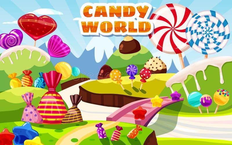 Сладкий ландшафт феи мира конфеты, панорама Помадки, конфеты, карамелька Предпосылка игры мультфильма r иллюстрация вектора