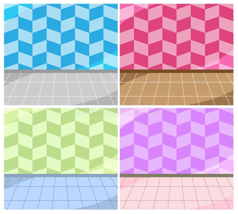 Сладкий набор интерьера 4 дизайна ребенка комнаты обоев иллюстрация штока