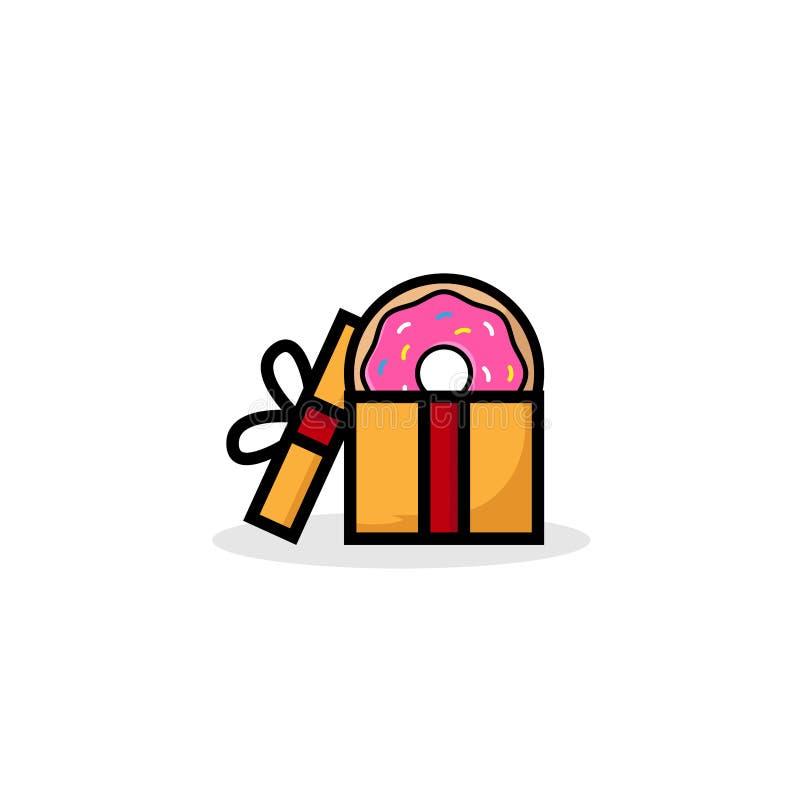 Сладкий подарок донута, донут с розовой поливой изолированной на белой предпосылке Иллюстрация вектора в стиле шаржа Логотип для  иллюстрация вектора