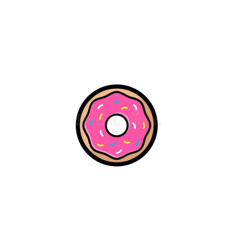 Сладкий подарок донута, донут с розовой поливой изолированной на белой предпосылке Иллюстрация вектора в стиле шаржа Логотип для  бесплатная иллюстрация