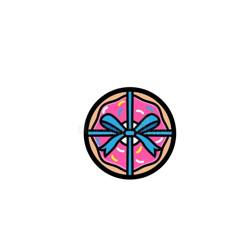 Сладкий подарок донута, донут с розовой поливой изолированной на белой предпосылке Иллюстрация вектора в стиле шаржа Логотип для  иллюстрация штока