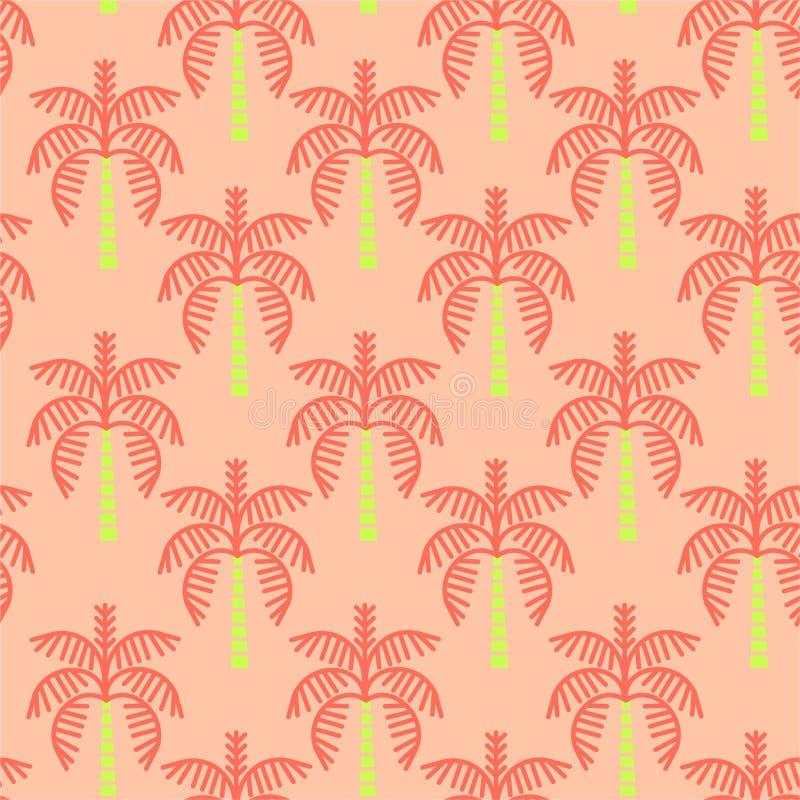 Сладкий ретро значок пальм Повторение безшовной картины регулярное Иллюстрация вектора на винтажном оранжевом цвете предпосылки иллюстрация штока