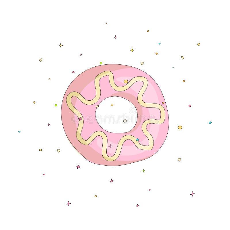 Сладкий розовый значок мультфильма донута с красочным украшением Значок вектора cartooning вкусный донут с отверстием Сладкий роз иллюстрация вектора