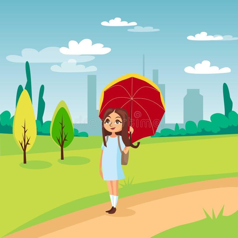 Сладостная девушка идя под красный зонтик на предпосылке иллюстрации вектора шаржа концепции пейзажа природы иллюстрация штока