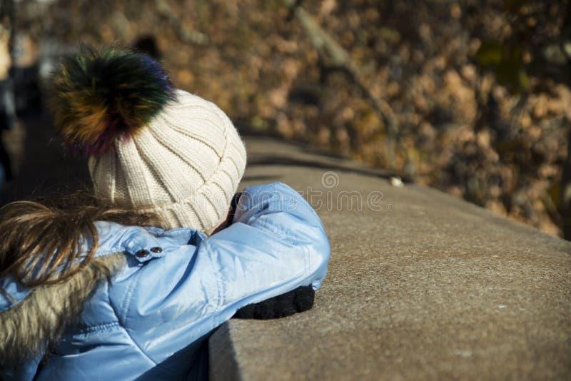 Сладостная девушка смотря реку стоковая фотография rf