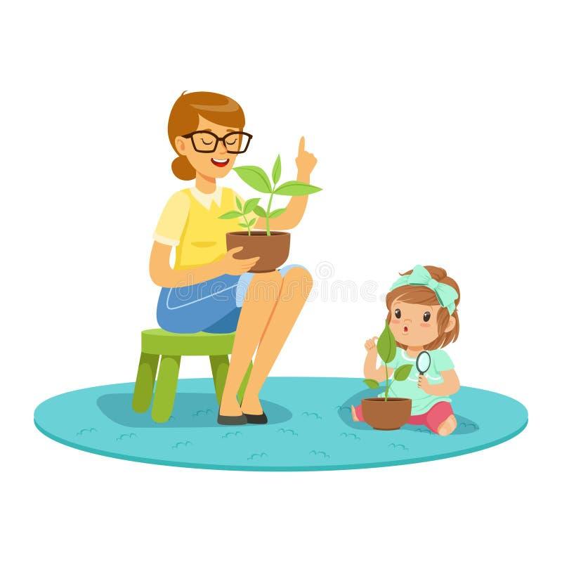 Сладостная маленькая девочка уча о заводах с учителем, уроком ботаники в иллюстрации вектора шаржа детского сада иллюстрация вектора