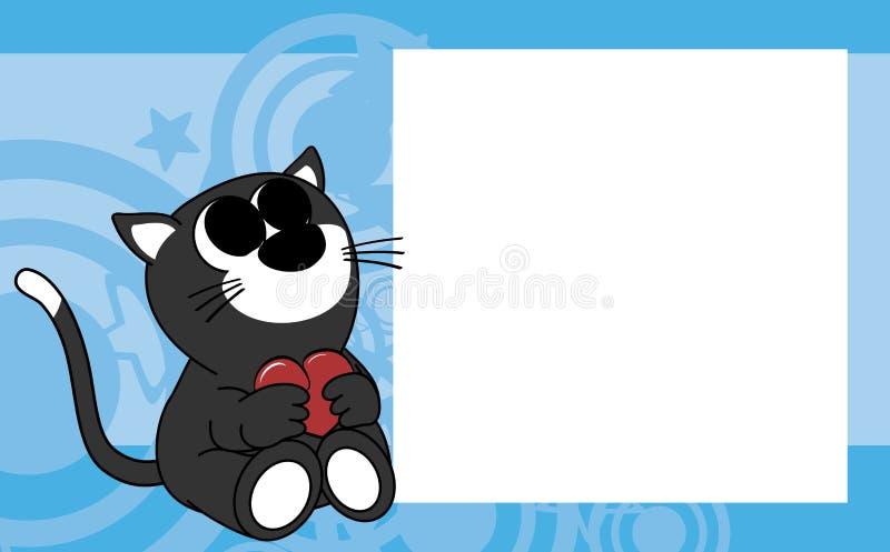 Сладостная маленькая предпосылка картинной рамки валентинки кота младенца бесплатная иллюстрация