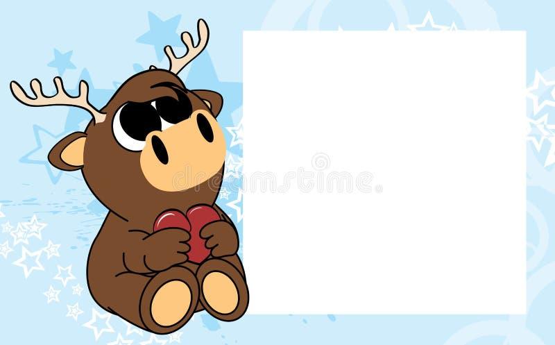 Сладостная маленькая предпосылка картинной рамки валентинки оленей младенца бесплатная иллюстрация