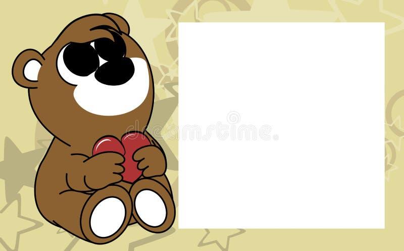 Сладостная маленькая предпосылка картинной рамки валентинки плюшевого медвежонка младенца иллюстрация штока