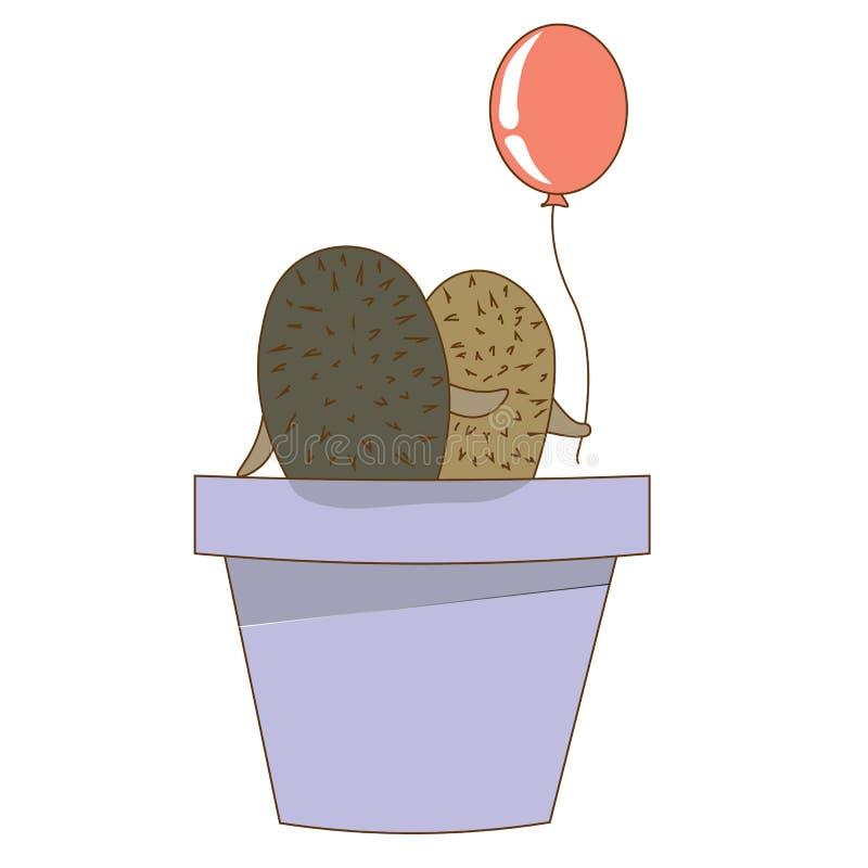 Сладостная пара в влюбленности ест в цветочном горшке Нежная иллюстрация бесплатная иллюстрация