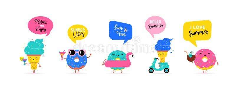 Сладостное лето - милые характеры мороженого, арбуза и donuts делают потеху иллюстрация вектора