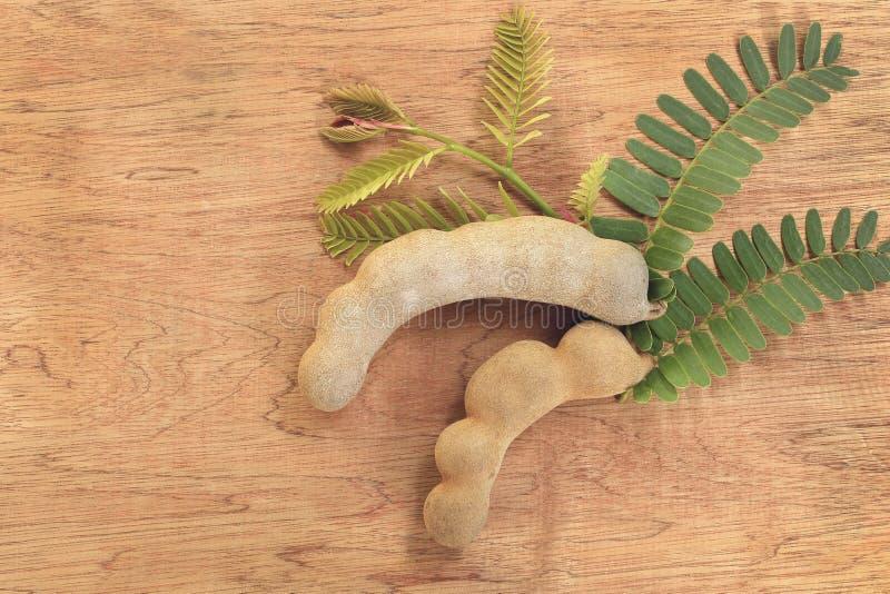 Сладостные зрелые стручки тамаринда с листовками на старой деревянной предпосылке стоковые изображения rf