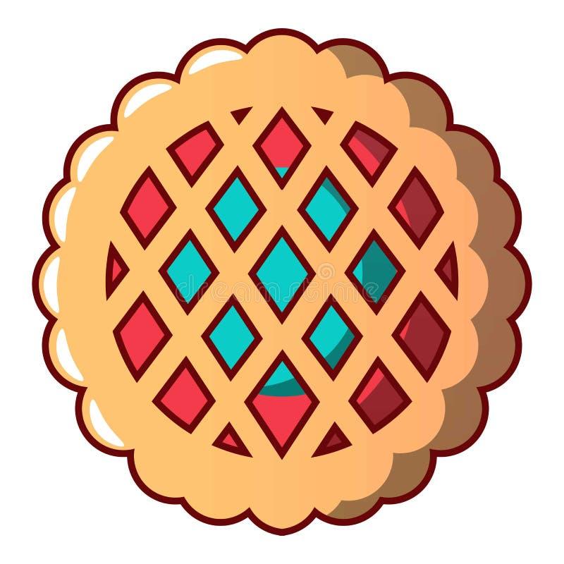 Сладостный значок печенья, стиль шаржа иллюстрация штока
