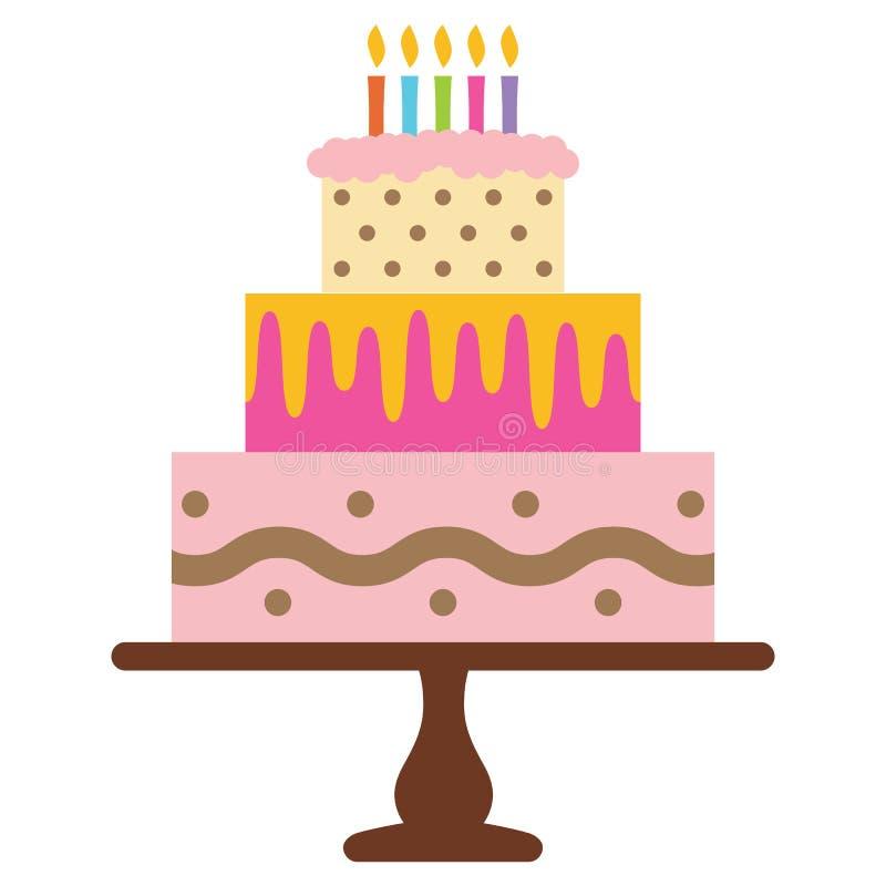 Сладостный именниный пирог с 5 горящими свечами Красочный десерт праздника иллюстрация штока