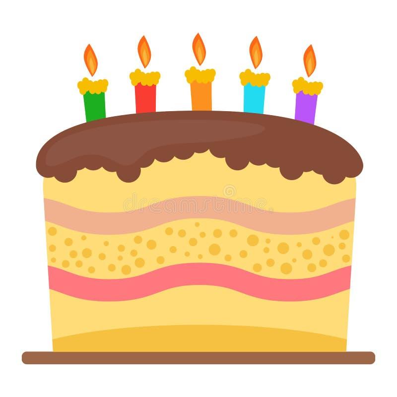Сладостный именниный пирог с 5 горящими свечами иллюстрация штока