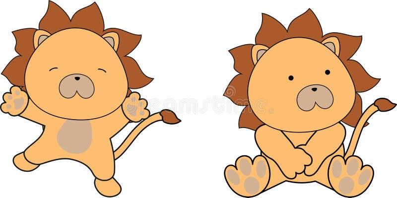 Сладостный комплект шаржа льва младенца иллюстрация штока