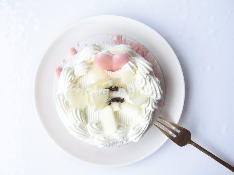 сладостный милый ванильный cream торт стоковое фото