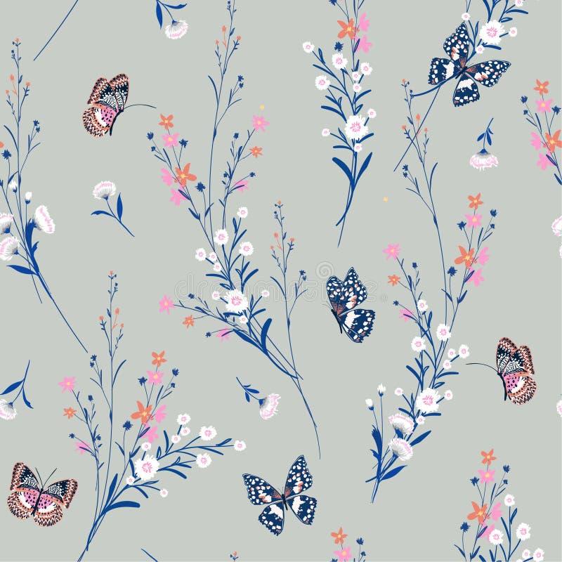 Сладостный пастельный луг цветет дуть в ветре с бабочками иллюстрация штока