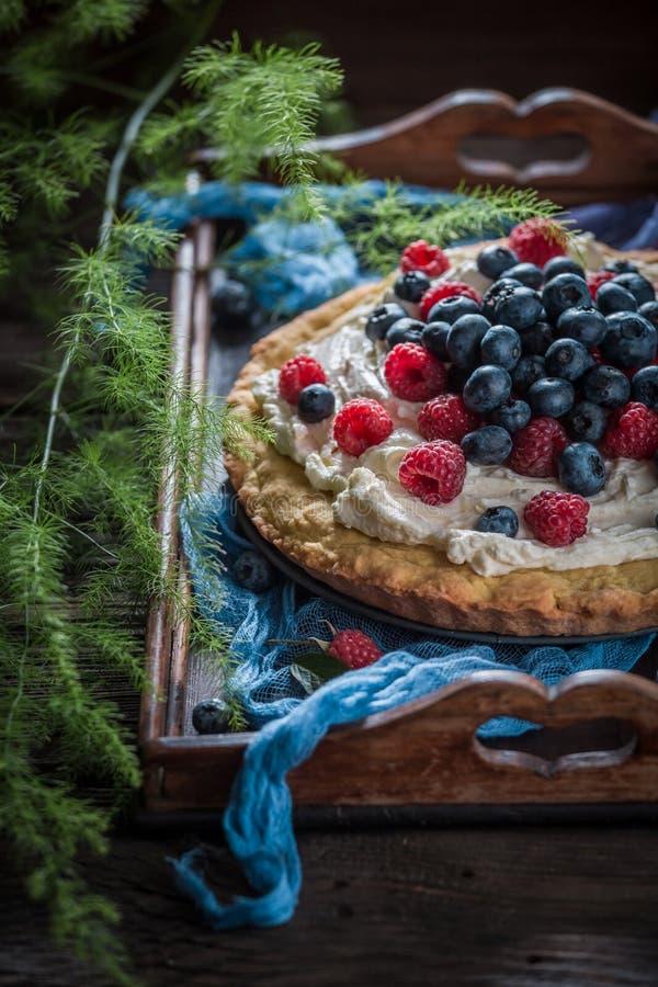 Сладостный пирог сделанный mascarpone и ягод стоковое фото rf