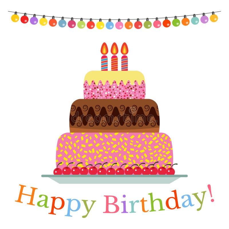 Сладостный торт для торжества дня рождения иллюстрация вектора