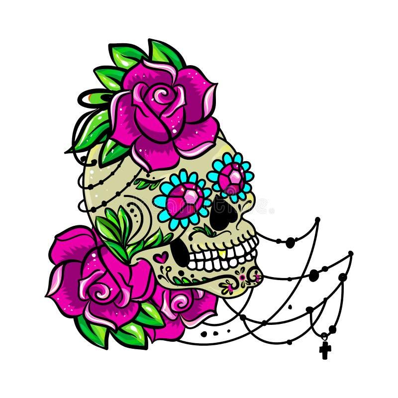 Сладостный череп иллюстрация штока