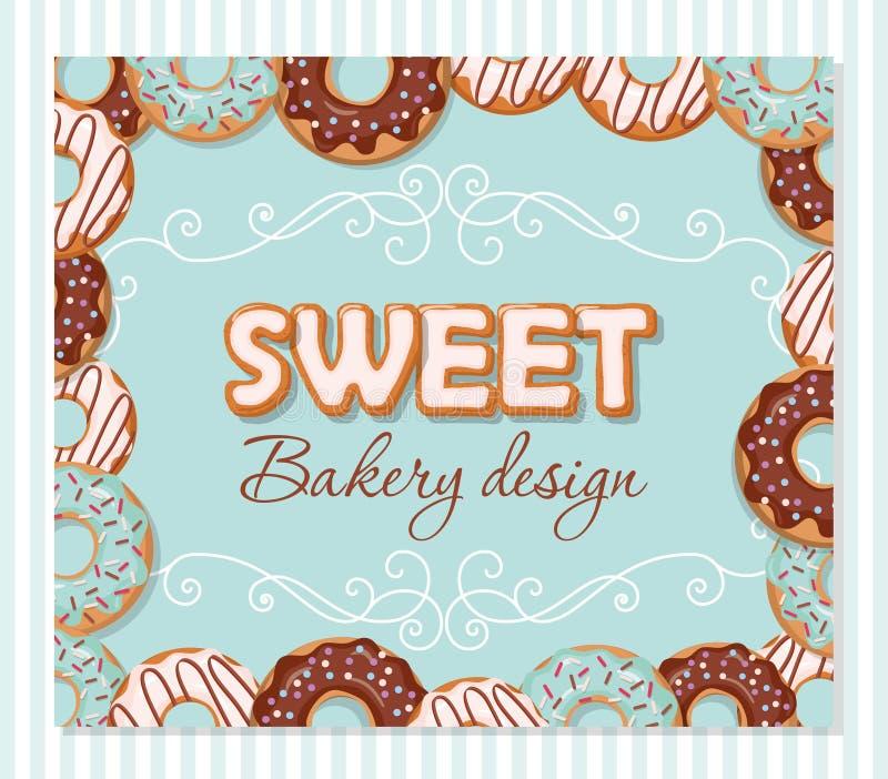 Сладостный шаблон дизайна хлебопекарни Письма шаржа и рамка донута нарисованные рукой на пастельной сини иллюстрация штока