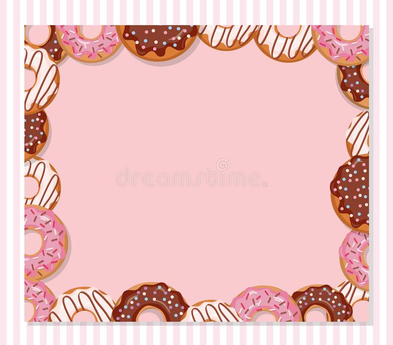 Сладостный шаблон дизайна хлебопекарни Рамка донута шаржа на пастельном пинке иллюстрация вектора