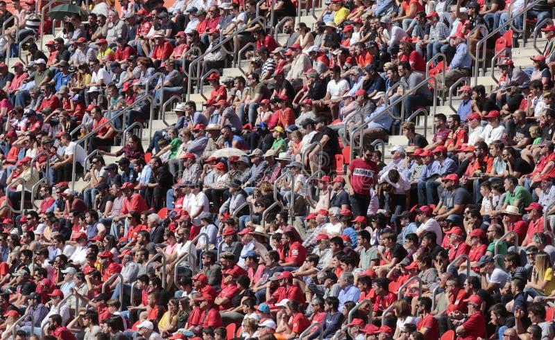 Следующие футбола на стадионе стоковое изображение