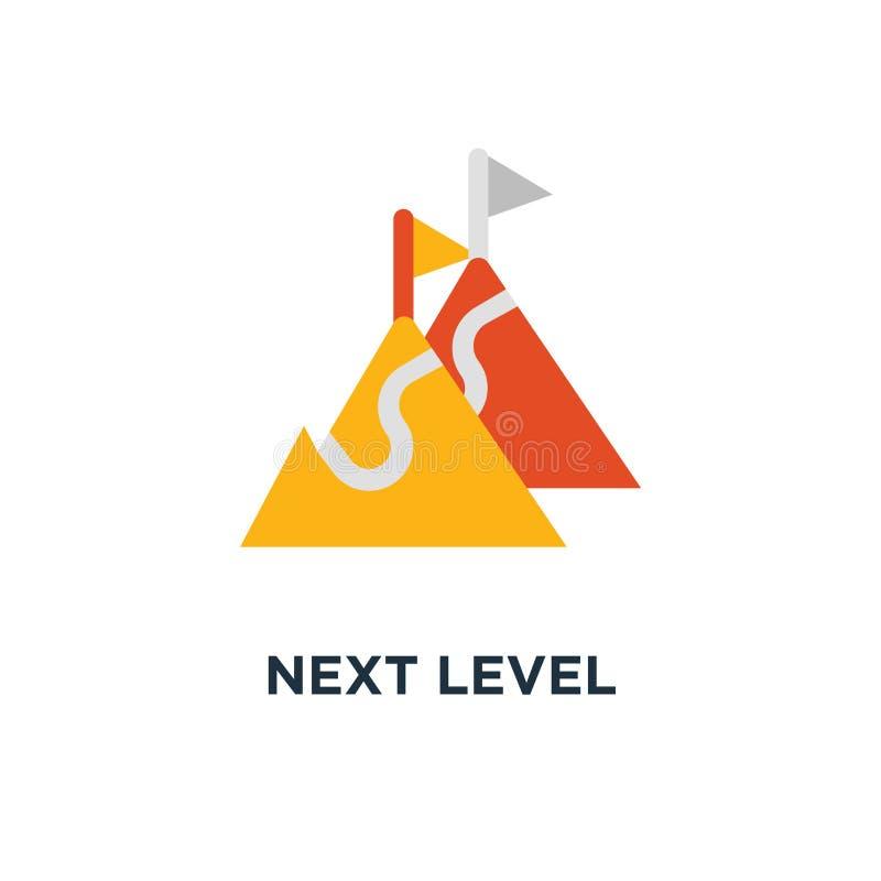 следующий ровный значок подъем, долгосрочный гонор, будущий дизайн символа концепции устремленности, путь к успеху, цель достигае иллюстрация штока