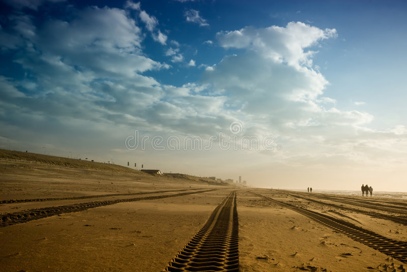 следы автошины пляжа Стоковые Изображения