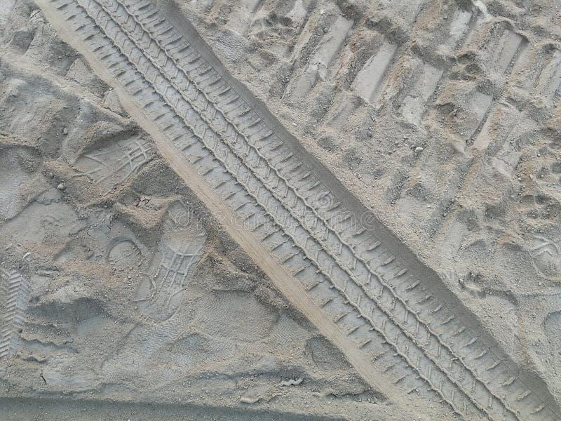 Следы колеса и следы ноги человека и собаки на песке стоковая фотография