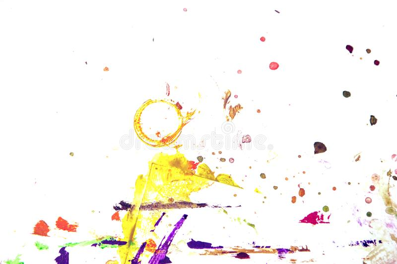 Traces of gouache paint on a white background. Red, green, purple, black stock photography