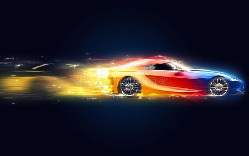 Следы starglow элегантных multicolor супер спорт автомобильные иллюстрация вектора