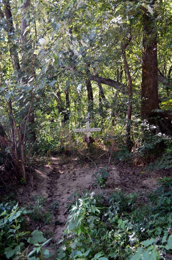 След водя до мемориального креста в лесе стоковая фотография rf