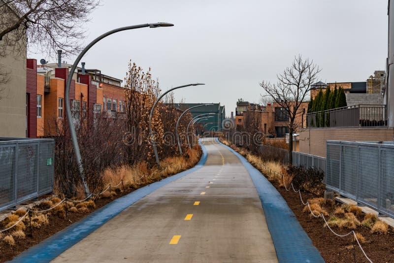 След 606 в плетеном парке Чикаго во время зимы стоковые изображения