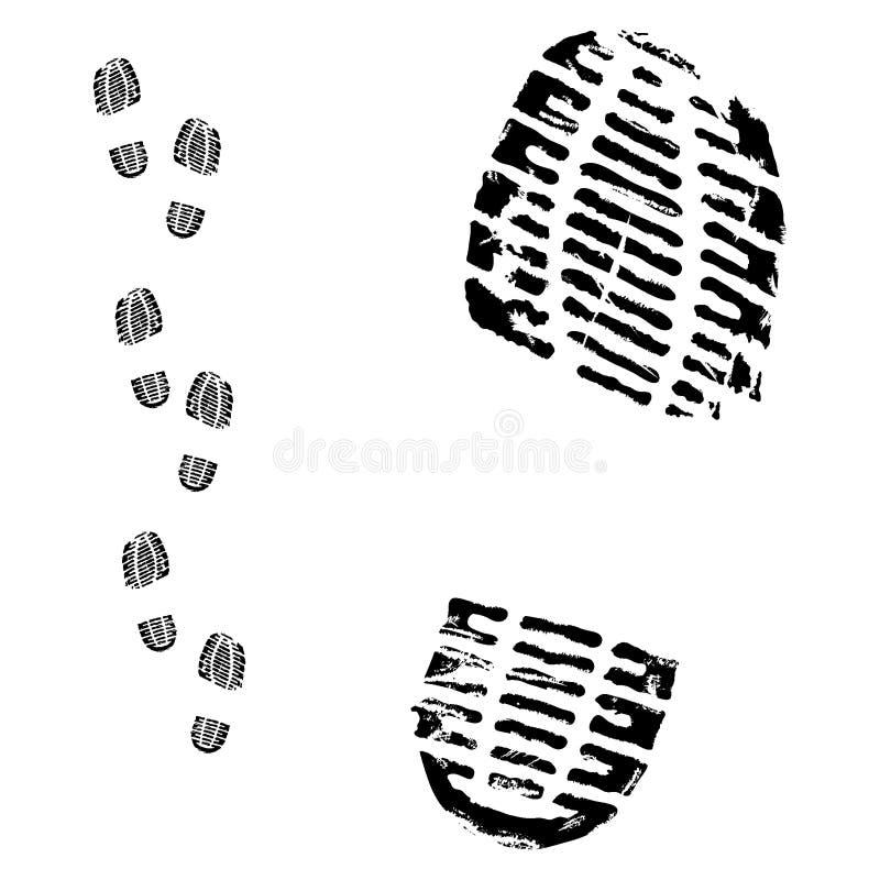 след ноги ботинка иллюстрация вектора