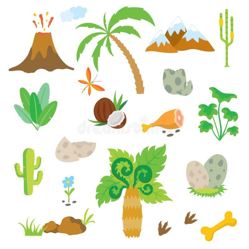 След ноги, вулкан, пальма и другое динозавра конструируют элементы иллюстрация вектора