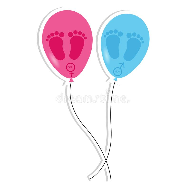След ноги и воздушные шары младенца - значки девушки и мальчика иллюстрация штока