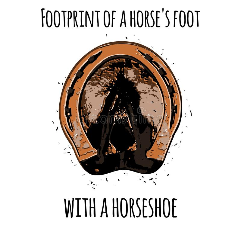 След ноги ноги лошади с подковой иллюстрация штока